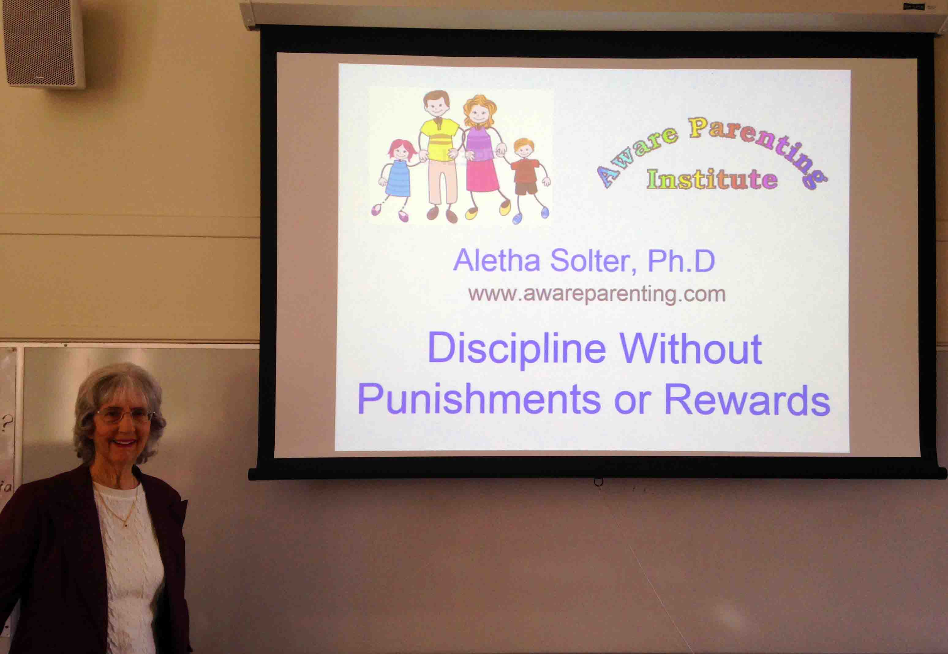 Aletha Solter leading a workshop in Santa Barbara, California